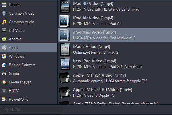 Blu-ray to iPad Mini 2 Converter-iPad Mini 2 video foramt